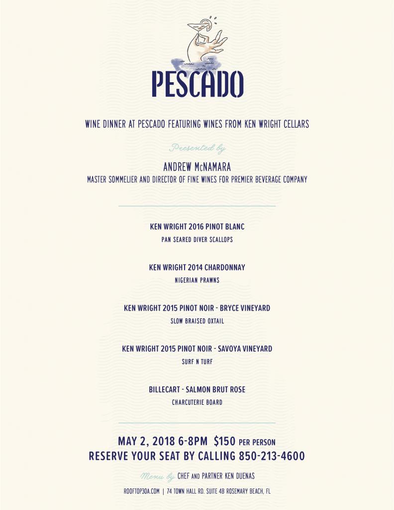 Pescado Hosts Wine Dinner Featuring Ken Wright Cellars