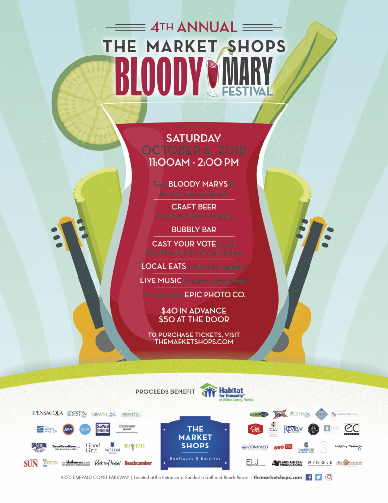 The Market Shops 4th Annual Bloody Mary Festival set for October 6, 2018 Proceeds to benefit Habitat for Humanity - Walton County